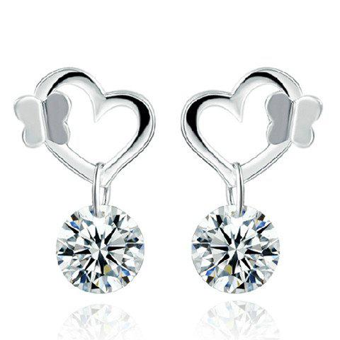 Pair of Elegant Rhinestone Heart Butterfly Earrings For Women
