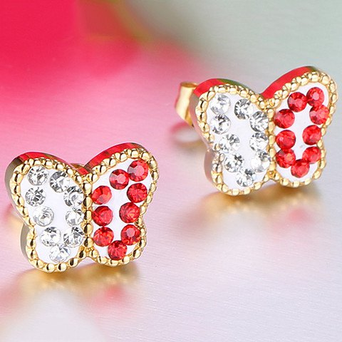 Pair of Chic Style Rhinestone Alloy Butterfly Earrings For Women - RED