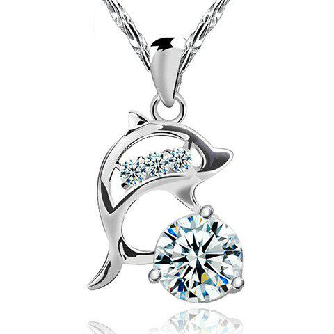 Elegant Rhinestone Hollow Out Dolphin Necklace For Women