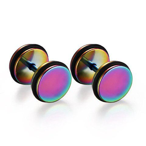 Pair of Chic Colored Stainless Steel Circle Earrings For Men - COLORMIX