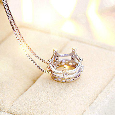 Hollow Out Rhinestoned Crown Pendant Necklace - SILVER