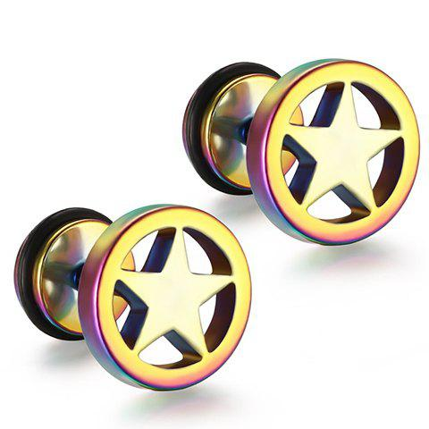 Pair of Stylish Stainless Steel Star Earrings Jewelry For Men