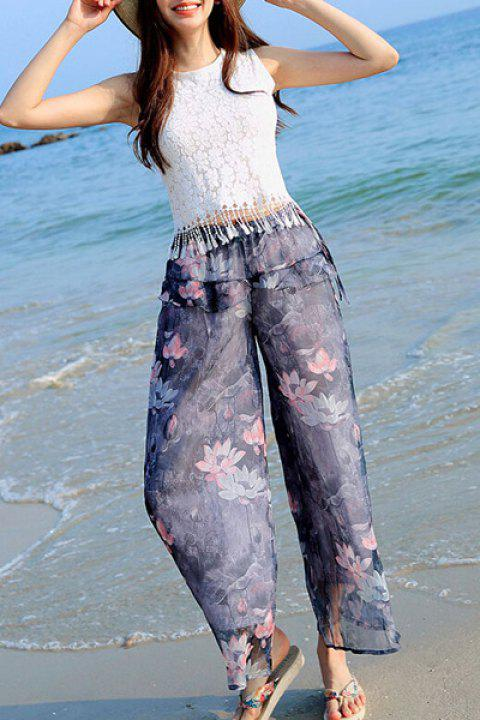 Floral Print High Waisted Wide Leg Pants - COLORMIX M