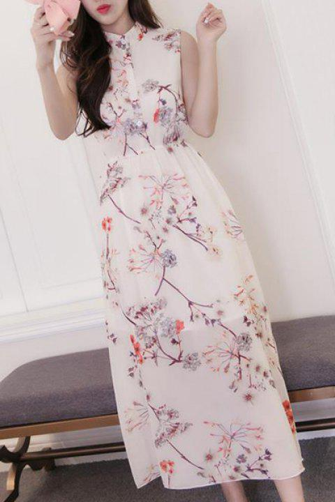 Sweet Floral Buttoned Stand Collar Women's Dress - OFF WHITE 2XL
