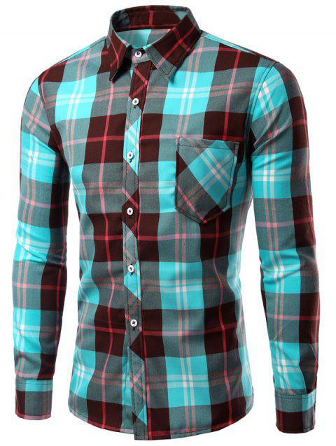 Long Sleeve Checked Print Turn-Down Collar Men's Shirt - LIGHT BLUE M