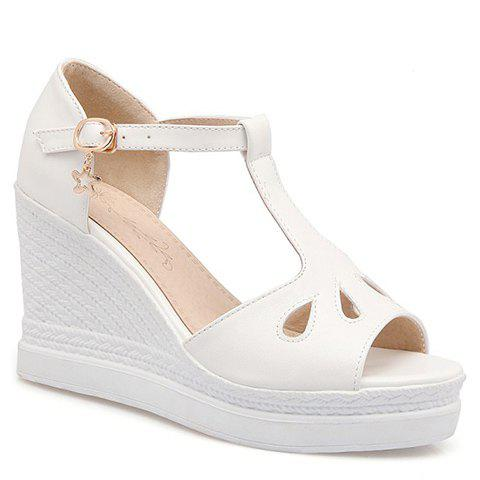 Fashionable Hollow Out and Wedge Heel Design Women's Sandals - WHITE 39