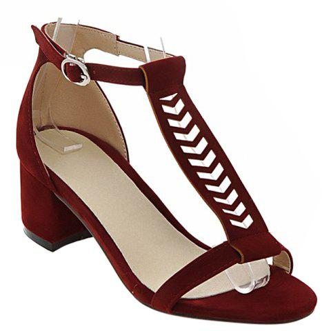 Leisure T-Strap and Chunky Heel Design Women's Sandals - WINE RED 39