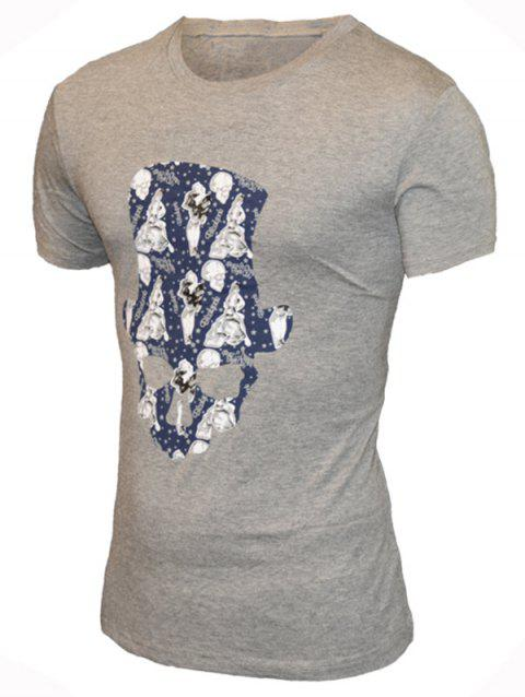 Round Neck Hat Skull Print Pattern Short Sleeve Men's T-Shirt - GRAY M