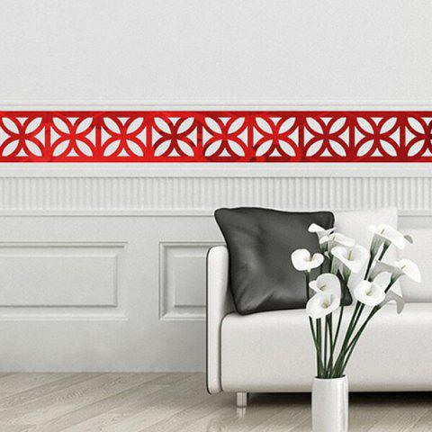 Chic Hollow Out Floral Shape Waist Line Mirror Wall Stickers For Livingroom Bedroom Decoration - RED