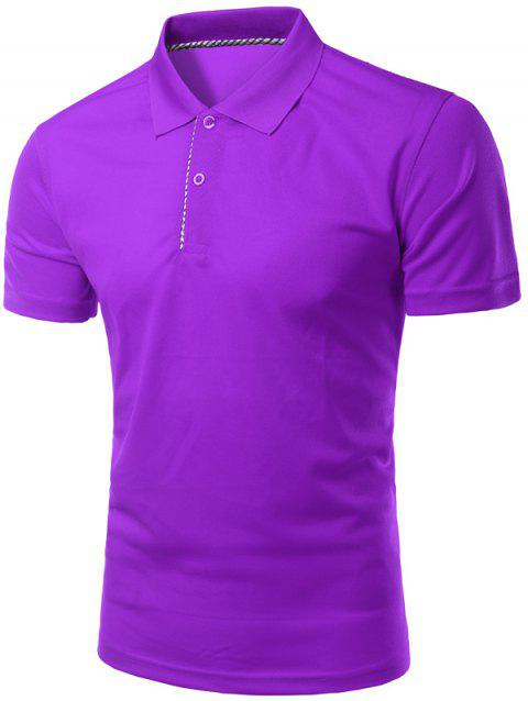 Solid Color Slimming col rabattu manches courtes hommes  's Polo T-Shirt - Pourpre M