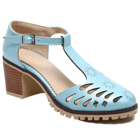 Casual T-Strap and Hollow Out Design Women's Pumps - LAKE BLUE 36