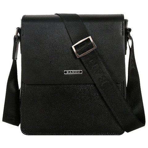 Simple Dark Color and Letter Design Men's Messenger Bag - BLACK
