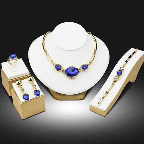 A Suit of Rhinestone Faux Sapphire Necklace Bracelet Earrings and Ring - BLUE/GOLDEN