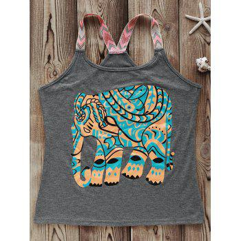 Fashionable Round Collar Spliced Elephant Print Women's Tank Top
