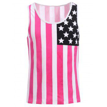 Fashion Round Neck American Flag Print Men's Hit Color Tank Top - RED RED