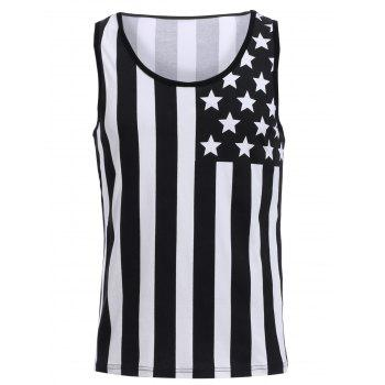 Fashion Round Neck American Flag Print Men's Hit Color Tank Top - BLACK M