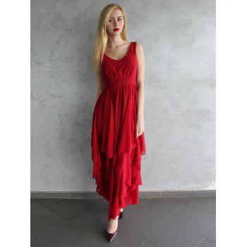 Chic Plunging Neck Pure Color Chiffon Dress For Women - M M