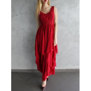 Chic Plunging Neck Pure Color Chiffon Dress For Women - DEEP RED L