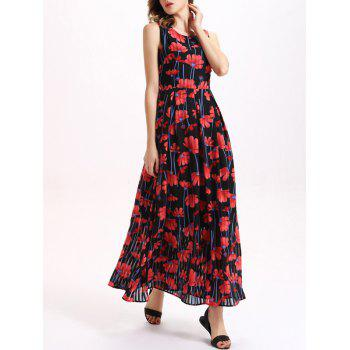 Sweet Sleeveless Floral Print Women's Chiffon Dress - RED M