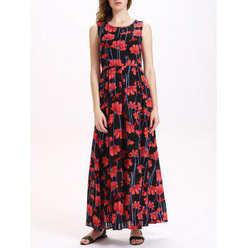 Sweet Sleeveless Floral Print Women's Chiffon Dress