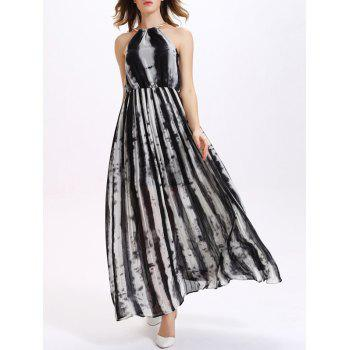 Sweet Striped Chain Embellished Neck Women's Chiffon Dress