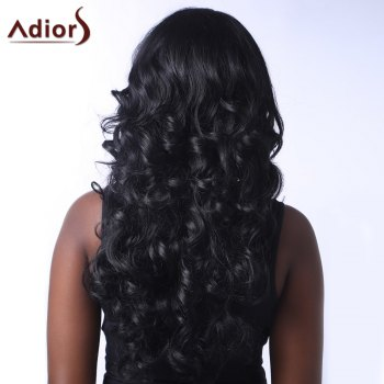Outstanding Long Side Parting Fluffy Curly Black Women's Synthetic Adiors Wig - BLACK