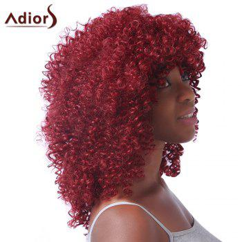 Rouge Tendance moyenne synthétique Fluffy Afro Curly femmes s 'capless perruque - Rouge