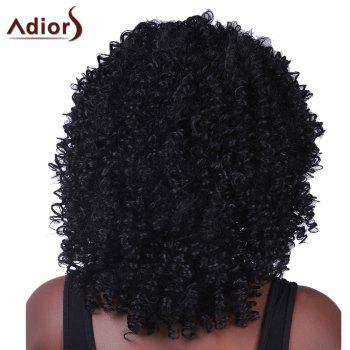 Fluffy Medium Afro Curly Synthetic Vogue Black Women's Capless Adiors Wig - BLACK