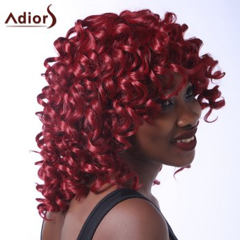 Fluffy Curly Synthetic Stunning Dark Red Medium Capless Adiors Wig For Women - DEEP RED