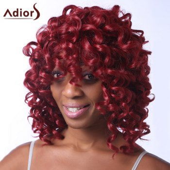 Fluffy Curly Synthetic Stunning Dark Red Medium Capless Adiors Wig For Women