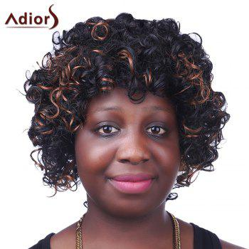 Trendy Synthetic Brown Highlight Short Afro Curly Fluffy Sparkling Women's Capless Wig