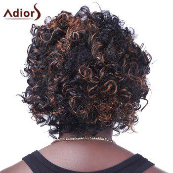 Capless perruque synthétique Brown Trendy Highlight courtes Afro Curly Fluffy mousseux femmes - multicolorcolore