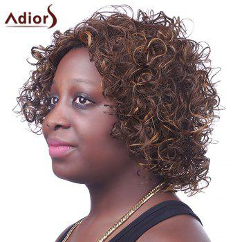 Trendy Synthetic Brown Mixed Side Bang Short Afro Curly Fluffy Spiffy Women's Capless Wig -  COLORMIX