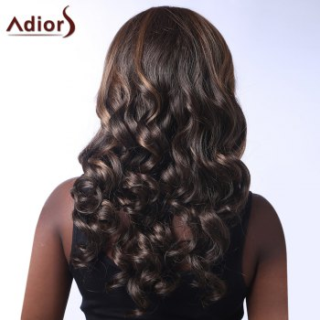 Fluffy Curly Heat Resistant Fiber Stunning Mixed Color Centre Parting Capless Long Wig For Women - COLORMIX