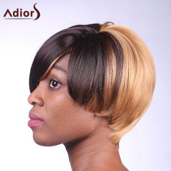 Spiffy Side Bang Straight Synthetic Stylish Black Ombre Brown Capless Wig For Women - COLORMIX