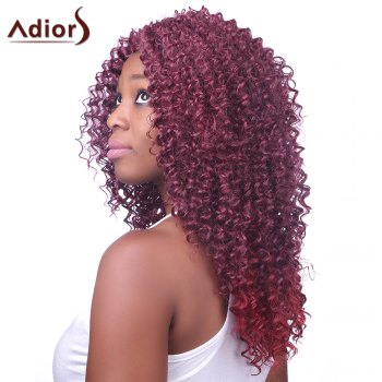 Fluffy Afro Curly Long Side Bang Fashion Dark Wine Red Capless Synthetic Wig For Women - WINE RED