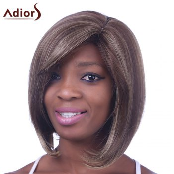 Fashion Bob Hairstyle Side Bang Medium Straight Mixed Color Kanekalon Capless Women's Synthetic Wig - COLORMIX COLORMIX