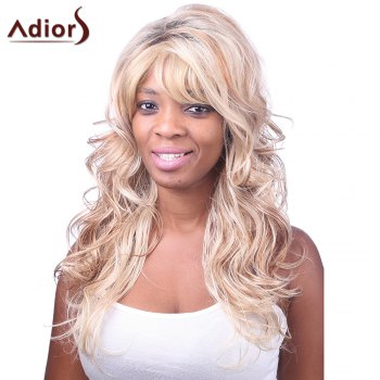Charming Sexy Side Bang Fluffy Long Big Curly Black BT Golden Synthetic Women's Capless Wig - COLORMIX COLORMIX