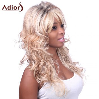 Charming Sexy Side Bang Fluffy Long Big Curly Black BT Golden Synthetic Women's Capless Wig - COLORMIX