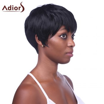 Charming Straight Short Black Side Bang Heat Resistant Synthetic Wig For Women - BLACK