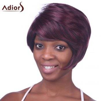 Trendy Synthetic Wine Red Highlight Short Straight Side Bang Charming Women's Capless Wig - COLORMIX COLORMIX