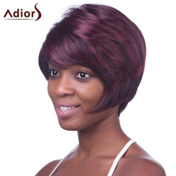 Trendy Synthetic Wine Red Highlight Short Straight Side Bang Charming Women's Capless Wig -  COLORMIX