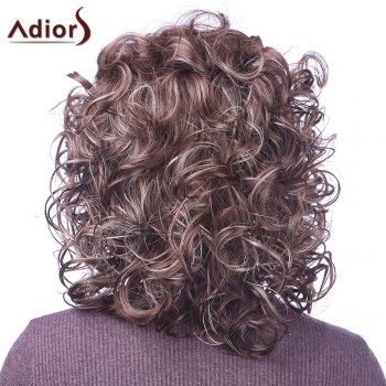 Trendy Synthetic Mixed Color Fluffy Medium Curly Charming Women's Capless Wig -  COLORMIX