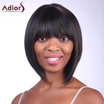 Trendy Synthetic Brown Mixed Black Short Straight Full Bang Charming Women's Capless Wig - COLORMIX COLORMIX