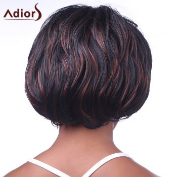 Classic Short Hairstyle Full Bang Fluffy Wavy Heat Resistant Mixed Color Synthetic Women's Capless Wig -  COLORMIX