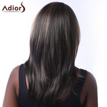 Top Quality Multi-Layered Natural Straight Mixed Color Side Bang Synthetic Women's Long Wig -  HIGHLIGHT BROWN /