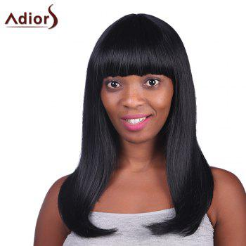 Graceful Glossy Straight Heat Resistant Fiber Full Bang Charming Black Long Capless Wig For Women