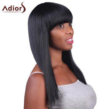 Prevailing White Highlight Capless Stylish Neat Bang Synthetic Long Silky Straight Women's Wig - COLORMIX