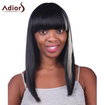 Prevailing White Highlight Capless Stylish Neat Bang Synthetic Long Silky Straight Women's Wig