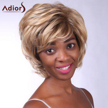Noble Short Side Bang Heat Resistant Fiber Shaggy Curly Capless Wig For Women - COLORMIX